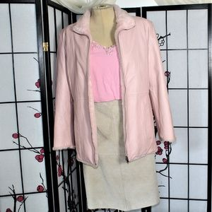 REVERSIBLE LEATHER JACKET/SKIRT SUIT SEPARATE 14/L
